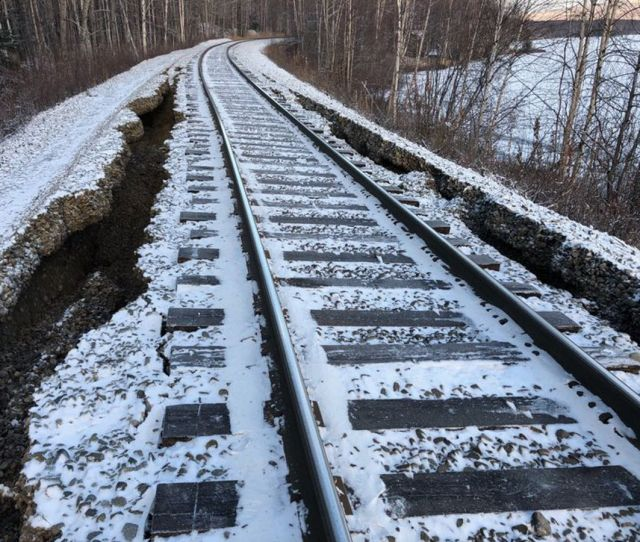 Damage From Fridays 7 0 Earthquake In Southcentral Alaska Rendered Parts Of The Alaska Railroad System North
