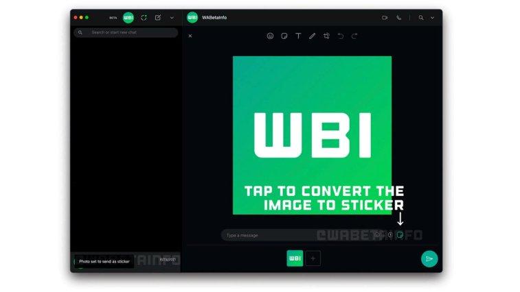 WhatsApp'ın 2.2137.3 kodlu masaüstü beta sürümünde yeni bir özellik keşfedildi. Bu özellik, kullanıcıların bilgisayarlarındaki bir fotoğrafı sticker gibi gönderebilmelerine imkan tanıyacak.