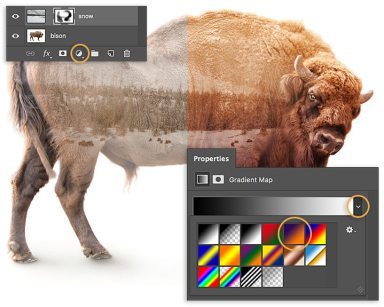 Add Gradient Fill adjustment layer, set blending mode to Overlay, and reduce opacity for photo composite effect