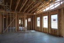 Living room of 1327 Eagle in the framing stage