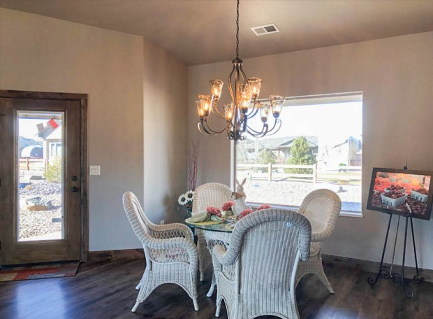 Gorgeous blown glass chandelier in the dining rom of 1401 niblick way