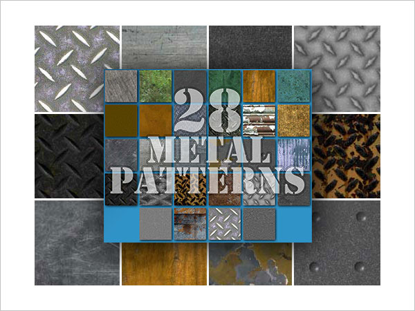 28 Seamless Metal Patterns for Photoshop