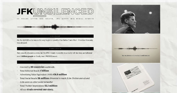BREAKING NEWS: 'JFK Unsilenced' by Rothco|Accenture snags Creative Data Lions Grand Prix at Cannes Lions 2018