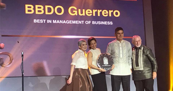 BBDO Guerrero wins Management of Business award at the 21st 4As AOY
