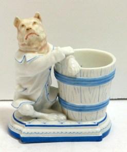 Unique German Porcelain Match Holder Front- Dog's Tale Collectibles