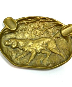 Hunting Dog Brass/Bronze Ashtray small front- Dog's Tale Collectibles