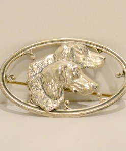 Silver Repousse Sporting Dogs Brooch Frnt 5- Dog's Tale Collectibles
