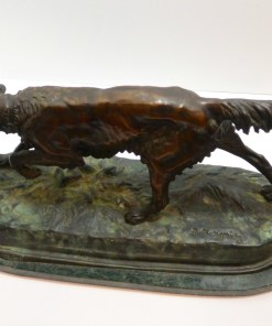 Large Bronze Jules Moigniez Sporting Dog Side22- Dog's Tale Collectibles