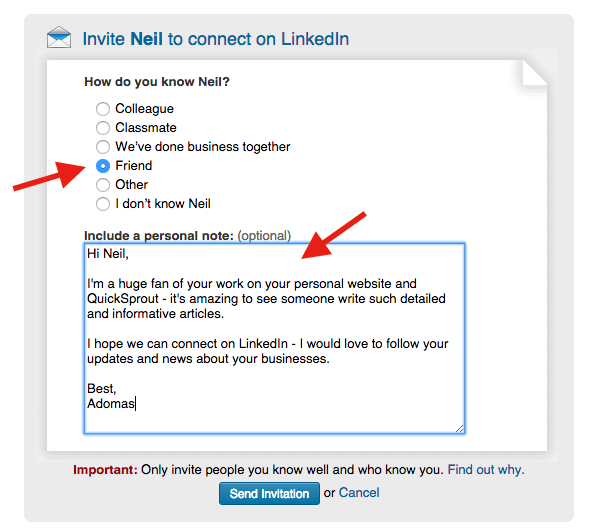 How to connect with people on LinkedIn by adding a personal note