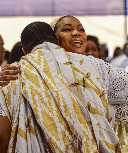 Samira Bawumia, Second Lady, hugs Reverend Sam Korankye Ankrah on his 60th birthday celebration