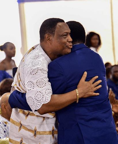 Reverend Korankye Ankrah hugs Presiding Bishop of Perez Chapel International, Bishop Charles Agyin Asare