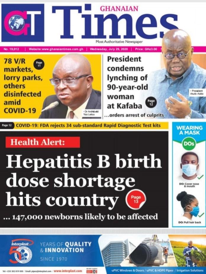 Newspaper Headlines: Wednesday, July 29, 2020 6