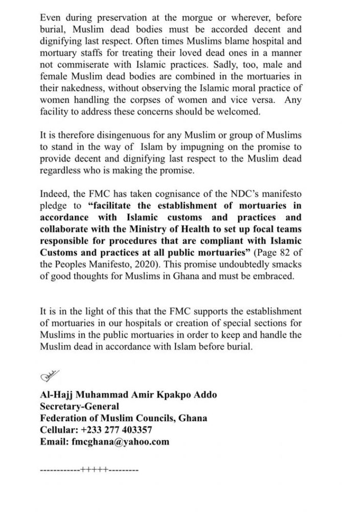 Federation of Muslim Council supports establishment of mortuaries in Zongo communities 3