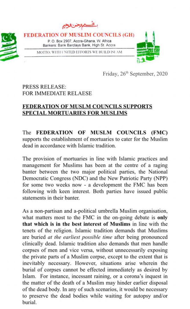 Federation of Muslim Council supports establishment of mortuaries in Zongo communities 2