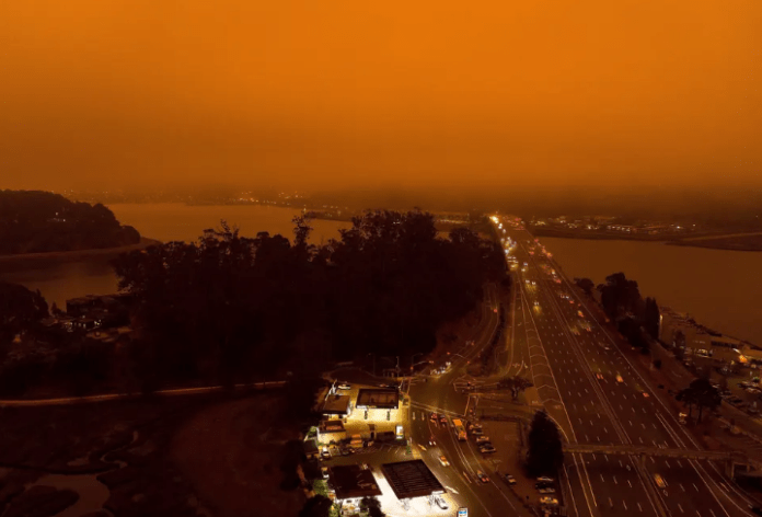 Orange fog over Bay Area caused by wildfire smoke. Photograph: Casey Flanigan/imageSPACE/REX/Shutterstock