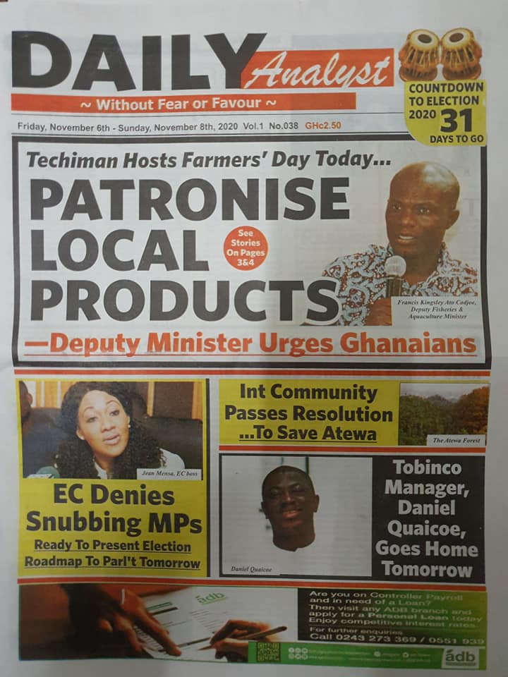 Today At The Newsstand; The Weekend's Newspaper Headlines. 35