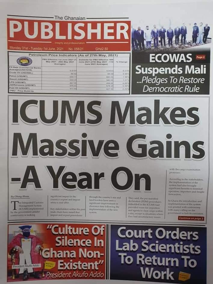 Newspaper Headlines: Monday, May 31, 2021 12
