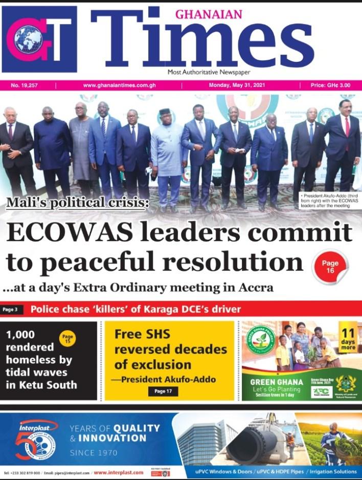 Newspaper Headlines: Monday, May 31, 2021 4