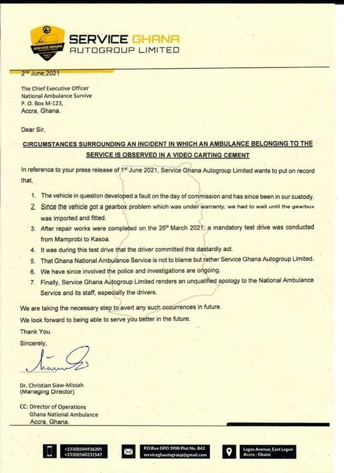 Cement in ambulance: Mechanic shop breaks silence 2