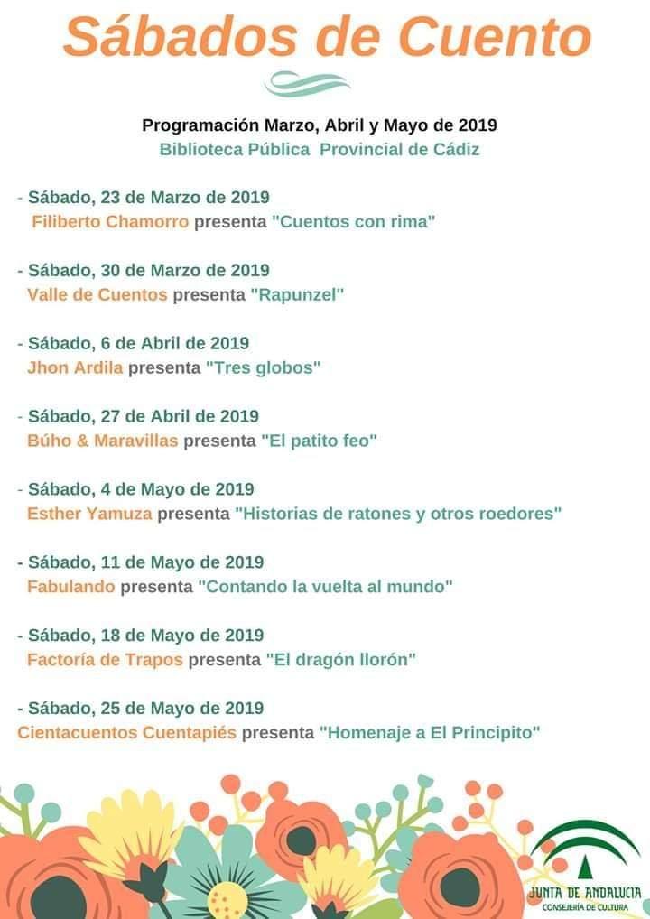 Sabados de cuenta biblioteca provincial Cadiz Abril Mayo 2019
