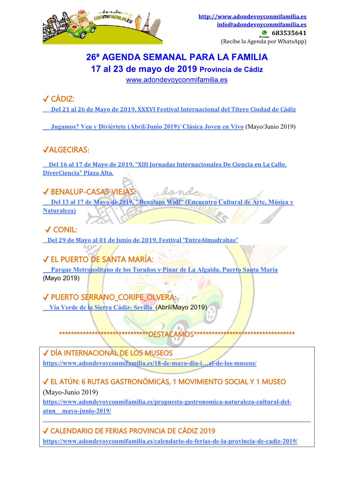 Agenda semanal familiar 17 al 23 mayo 2019