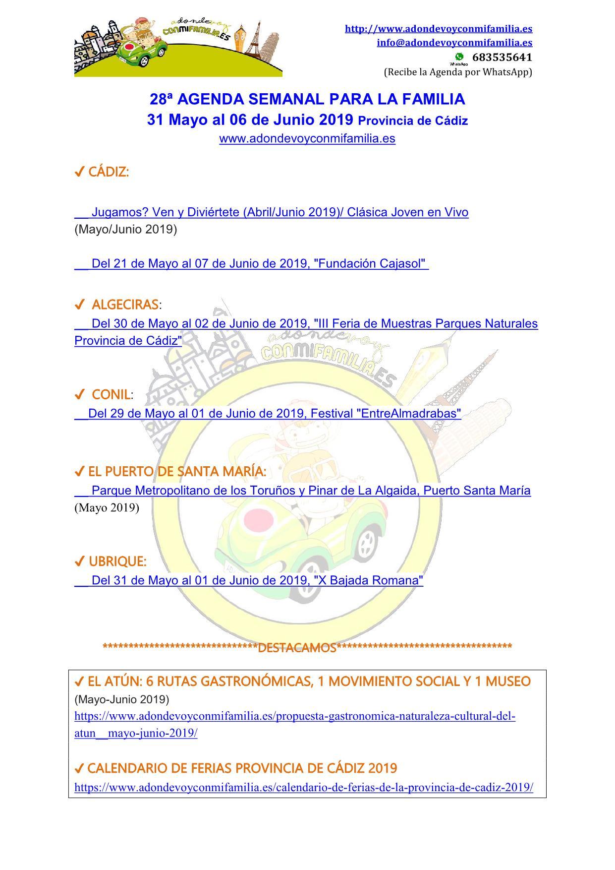 Agenda semanal familiar 31 Mayo al 06 Junio 2019