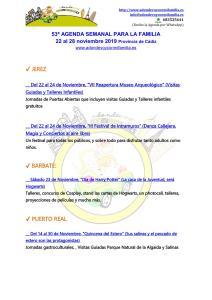 53ª AGENDA SEMANAL PARA LA FAMILIA 22 al 28 de Noviembre 2019 Provincia de Cádiz
