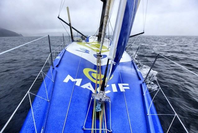 Onboard the IMOCA Open 60 Macif crewed by Francois Gabart and Michel Desjoyeaux during a training session before the Transat Jacques Vabre