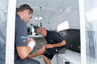 """Loick Peyron replacement skipper of Armel Le Cléac'h (he has to stand down from the Route du Rhum following a injury to his right hand) for """"La Route du Rhum"""" on the Maxi Trimaran Solo Banque Populaire VII."""