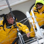 """Bernard Stamm(SUI) & Jean Le Cam (FRA) au large de Ouessant à bord de l'IMOCA 60' """"CHEMINEES POUJOULAT"""""""