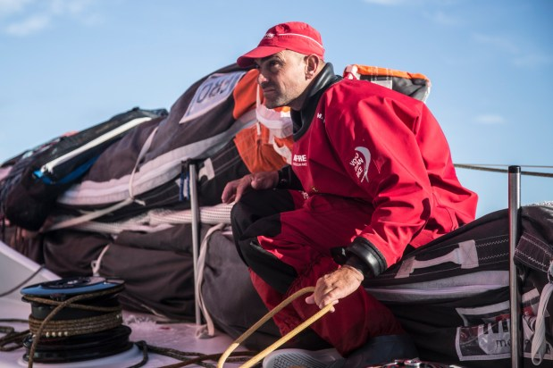 November 22, 2014. Leg 2 onboard MAPFRE. Xabi Fernandez checking out Team Alvimedica after gybing.