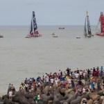 2014-15, VOR, Volvo Ocean Race, Itajai, Brazil, Start, aerial, fleet