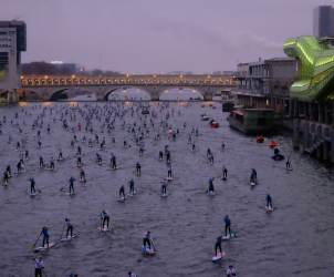 Canal Plus, Caterine&Lilliane, Le petit Journa, Nautic2015, Raoul Dobremel, SUP Crossing Paris