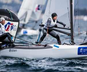 2017 World Cup Series Hyères, Classes, GBR 257 Chris Rashley GBRCR28 Laura Marimon Giovannetti GBRLM230, Nacra 17, Olympic Sailing, Pedro Martinez, Sailing Energy, World Cup Series Hyères 2017, World Sailing