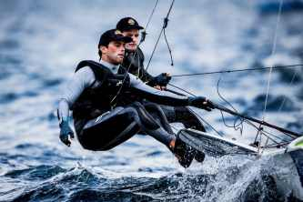 2017 World Cup Series Hyères, 49er, Classes, Olympic Sailing, Pedro Martinez, SUI 111 Sebastien Schneiter SUISS6 Lucien Cujean SUILC1, Sailing Energy, World Cup Series Hyères 2017, World Sailing