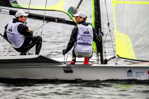 2018 World Cup Series, 49er, GAMAGORI, Japan, Olympic Sailing, SUI 111Sebastien Schneiter (M)SUISS6Lucien CujeanSUILC1, Sailing Energy, WC Series Gamagori, World Sailing
