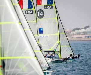 2018, 49er, FRA 34 49er FRA-14 Mathieu FREI Noé DELPECH, Mallorca, Olympic sailing, Trofeo Princesa Sofia Iberostar