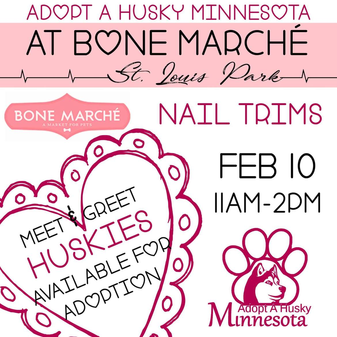 Adopt A Husky Minnesota at Bone Marché in St. Louis Park