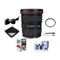 Canon EF 17-40mm f/4L USM Ultra Wide Angle Zoom Lens - BUNDLE with 77mm UV Wide Angle Filter, Flex Lens Shade, Lens Cap Leash, Cleaning Kit, Lens Wrap (15x15), with Pro Software Package