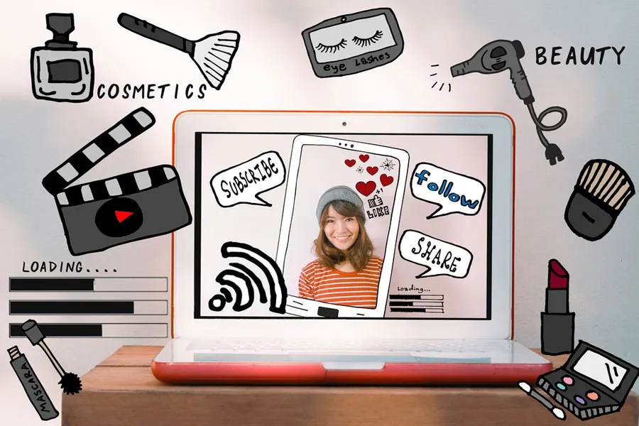 laptop with picture of a woman and beauty related graphics
