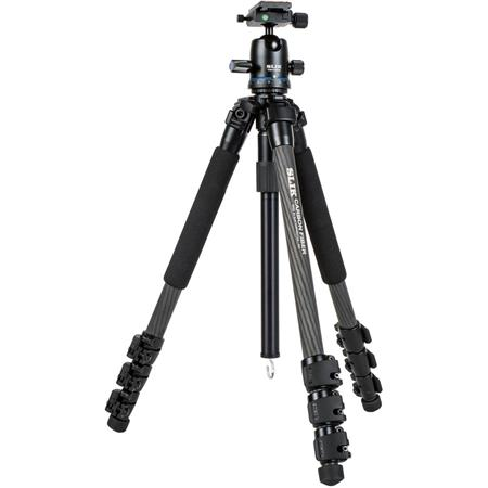 PRO 724CBH 4-Section Carbon Fiber Tripod with PBH-525DS Ball Head, 8.8 lbs Capacity, 66