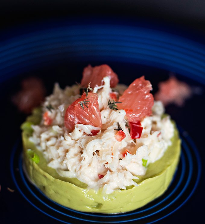 Crab and Avocado with Pink Grapefruit Salad