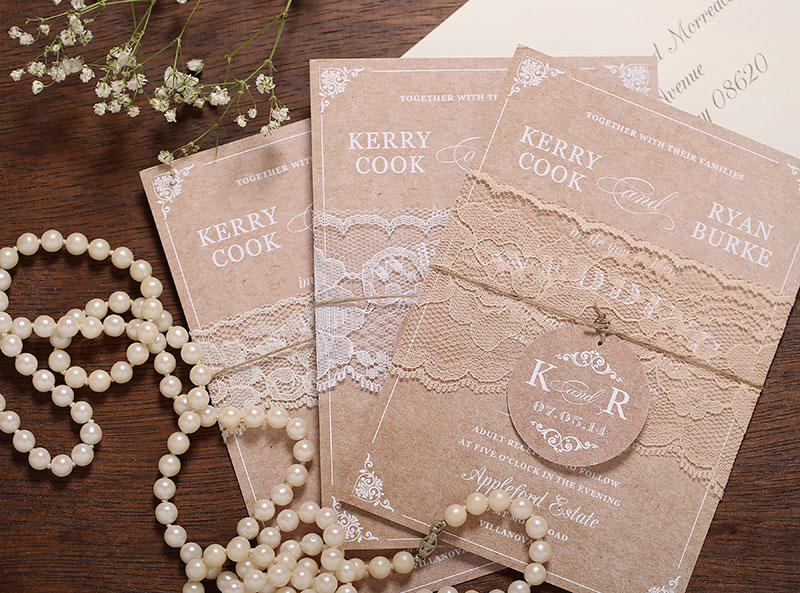 Vine Lace Wedding Invitations Adori Designs Custom