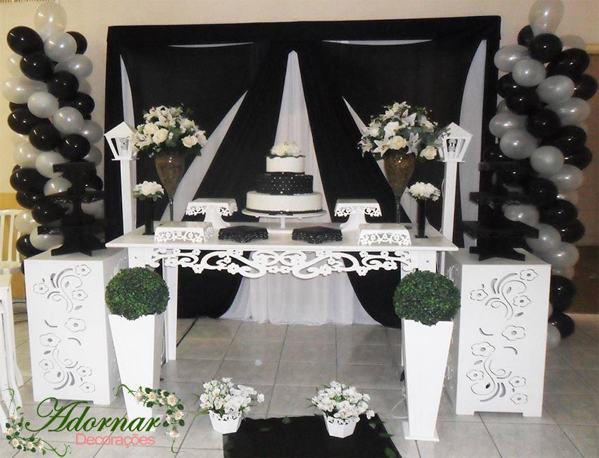 Aluguel Decoração Casamento Noivado Preto e Branco
