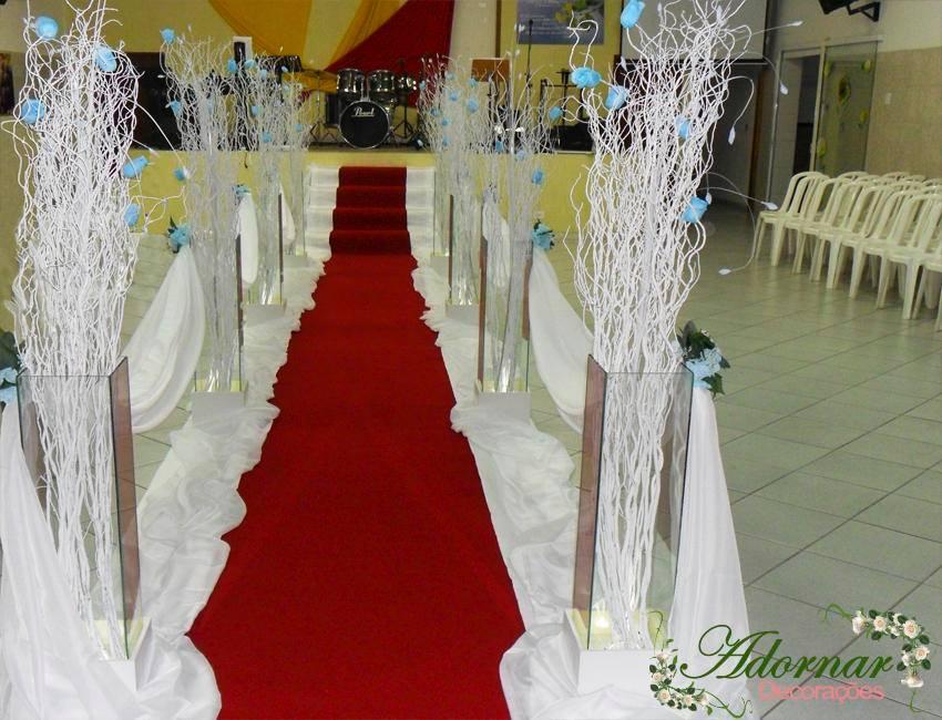 Aluguel Decoração Corredor de Cerimônia Azul Turquesa e Branco