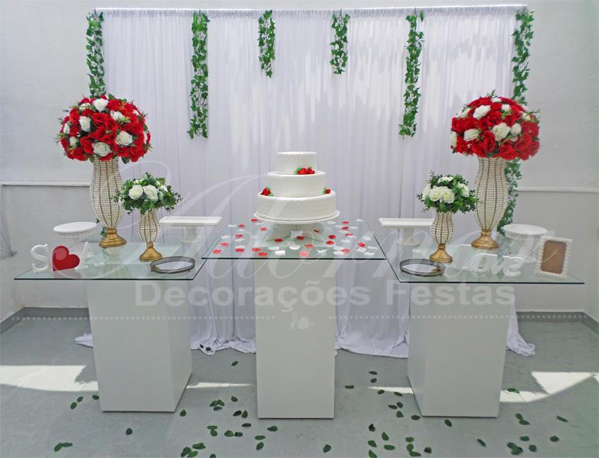 Decoração Casamento Vermelho e Branco