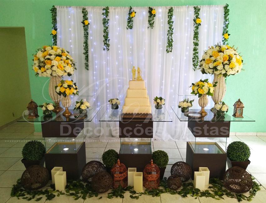Decoração Casamento Amarelo e Branco