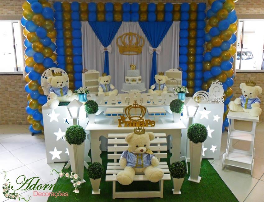 Decoração Chá de Bebê Urso Príncipe Azul e Dourado