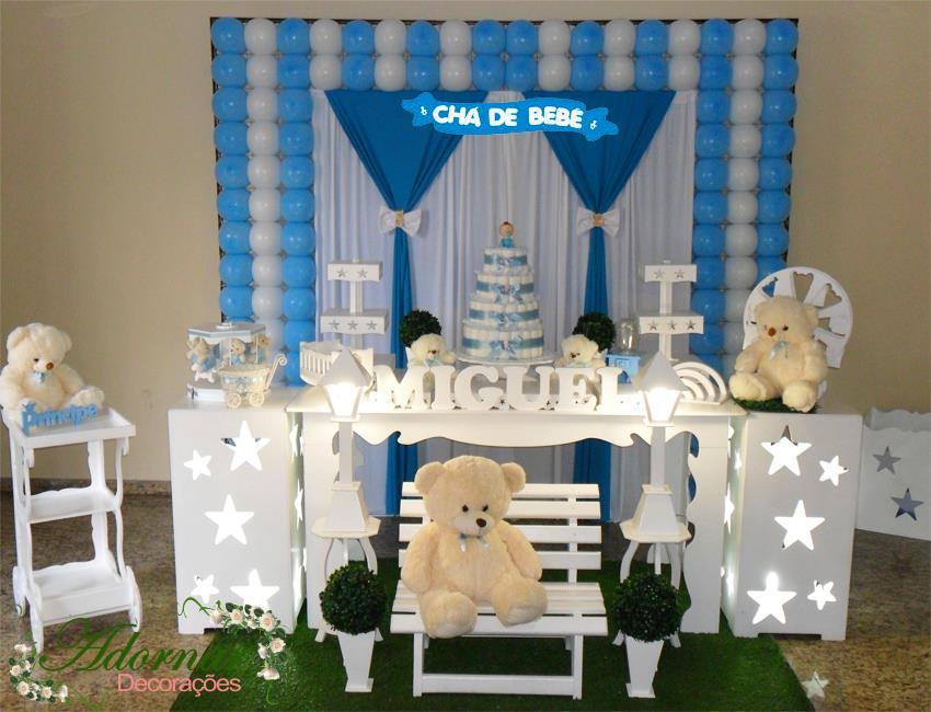 Decoração Chá de Bebê Urso Azul e Branco