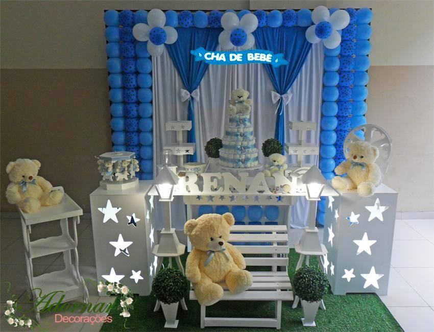 Decoração Chá de Bebê Urso Azul Poá e Marrom